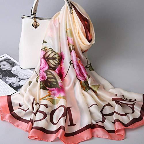 MYTJG Lady sjaal vrouwelijke sjaal mode zijden sjaal sjaal tas bloemenprint sjaal sjaal vrouwelijke maat
