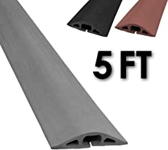 Electriduct D-2 Rubber Duct Cord Cover - 5 Feet Gray Floor Cable Protector