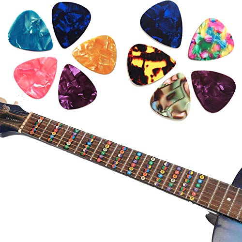 Guitar Fretboard Stickers, Learn Guitar Tabs, for Beginners Guitar Note Decals Sticker Tool + 10 Guitar Picks (Electric & Acoustic Guitars)