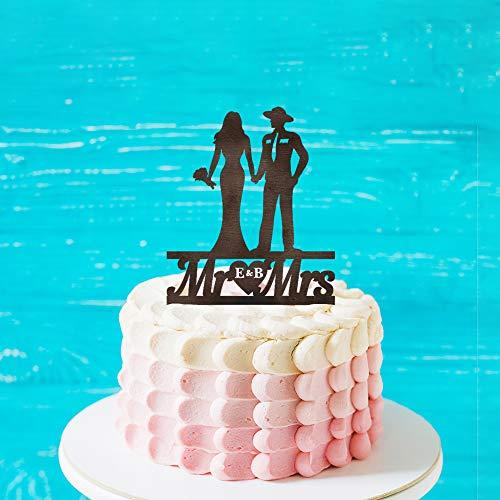 Rustieke Politie Officier Silhouette Bruiloft Cake Topper, Gepersonaliseerde Naam Cake Topper,Mr &Mrs Bruiloft Topper met Bruid en Groom voor Verjaardag
