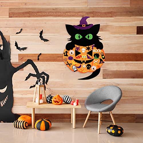 Juego de manualidades de fieltro, 52 unidades, Halloween, calabaza, gato, bruja, adhesivo de fieltro para decoración de Halloween