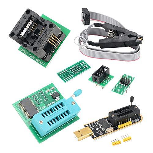 joyMerit Programador USB CH341A + SOIC8 Clip + Adaptador 1.8V + Adaptador SOIC8 para 24 25