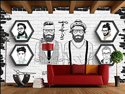 Muurschildering wallpaper Trend Barber Shop Poster Foto Wallpaper 250 cm x 175 cm