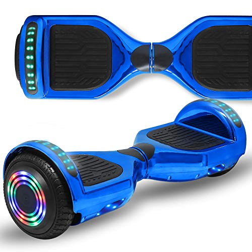 Longtime 6.5' Flashing Wheels Rechargeable Battery Self Balancing Scooter Electric Hoverboard for Kids and Adult Bluetooth Speaker LED Lights UL2272 Certified (Chrome Blue)