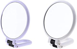 Blesiya 2Pcs Double-Sided Foldable HD Beauty Cosmetic Makeup Beauty Mirrors, 5 & 15X Magnifying Mirror & Normal Mirror with Hanging Hole