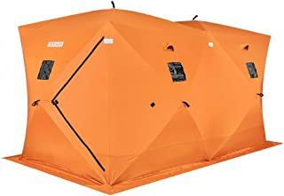 PEXMOR Ice Fishing Shelter, Pop-up Hub-Style for 8 Person, w/Portable Carrying Bag, Detachable Ventilated Windows, Zippered Door, Orange Waterproof Oxford Fabric