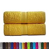 leevitex® 2er Pack Frottier XXL Saunatücher Set 80x200cm - Saunatuch, Sauna-Handtuch, Qualität 500 g/m² - 100% Baumwolle in vielen modernen Farben (Gelb/Mais)