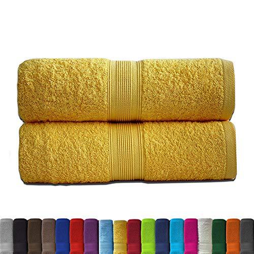 leevitex 2er Pack Frottier XL Duschtücher Set 70x140cm - Duschtuch, Badetuch, Qualität 500 g/m² - 100% Baumwolle in vielen modernen Farben (Gelb/Mais)