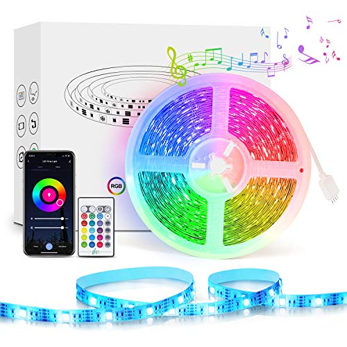 WiFi Tira LED, Etersky 5M Luces LED Regulable Sync con Música, Tira LED RGB Inteligente Control Remoto por APP, Compatible con Alexa, Google Home para el Hogar, Fiesta, TV(solo 2.4G WiFi)