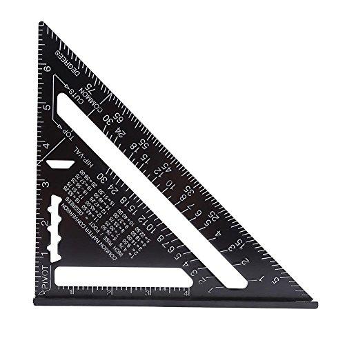 Herramienta de medición de alta precisión con transportador cuadrado de regla triangular de aleación de aluminio de 7 pulgadas para ingeniero carpintero (métrico)