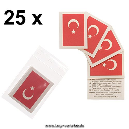 25er Türkei Tattoo Fahne Fan Set - EM Fanartikel 2016 - Türkei Flag (25)