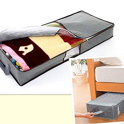 Unterbett-Kommode mit Reißverschluss, für Kleidung, Bettwäsche, Kissen, mit Griff, faltbar, Aufbewahrungstasche, Vliesstoff, grau, Einheitsgröße