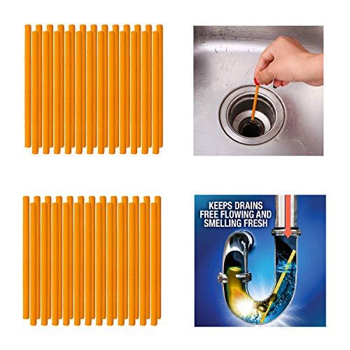 Qisiewell Abflussreiniger Sticks 50 Stück Orange Rohrreiniger Enzymreiniger für verstopfte Rohre im Bad Spülbecken Dusche Küche Spülbecken & WC & Waschbecken Badewanne und vieles mehr