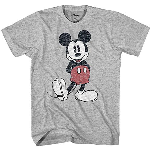 Disney Men's Full Size Mickey Mouse Distressed Look T-Shirt(Heather Grey,Large)