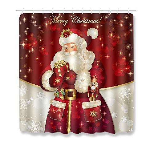 Alfombras Baño Alfombrillas De Baño Navideñas Festivas De 3PiezasPapá Noel Elk Cortina De Ducha De Baño con Ganchos Fiesta De Año Nuevo para La Decoración del Hogar Alfombra 3D-B1