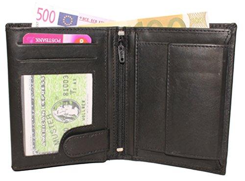 Leder Geldbörse Geldbeutel Kombibörse Brieftasche Hoch Damen Herren schwarz D5600