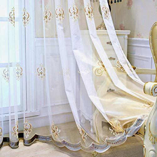 Suytan Europeiska gardiner, fin textur blommig broderad retro eleganta voile gardiner med kuvert baspaneler behandling för vardagsrum villa vit 200 x 260 cm (79 x 102 tum), vit, 200 x 260 cm (79 x 102 tum