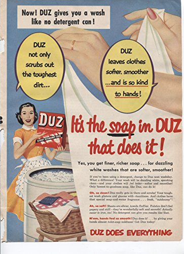 Duz Gives You A Wash Like No Detergent Can! Duz Leaves Clothes Softer, Smoother . . And Is So Kind To Hands! 1953 Vintage Antique Advertisement