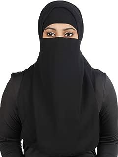 Long Saudi Niqab Nikab 2 Layers Burqa Hijab Face Cover Vei lBurka Naqaab Islam Islamic Jilbab Black