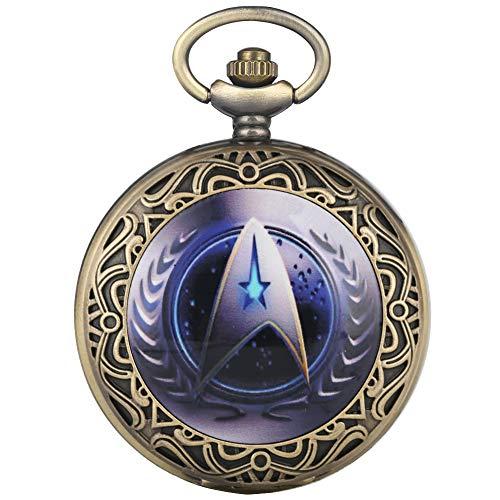 Men Women Pocket Watch, Bronze Star Trek Pocket Watch, Necklace Chain Fob Watches Pocket Watch Gift for Boys Girls