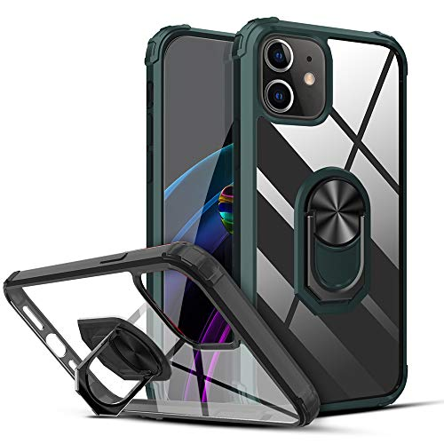 """Wismat Compatible with iPhone 12 Mini Case Clear 5.4"""", iPhone 12 Mini Phone Case Compatible iPhone 12 Mini Clear Case with Kickstand & Finger Ring Holder 12 FTs Anti-drop"""