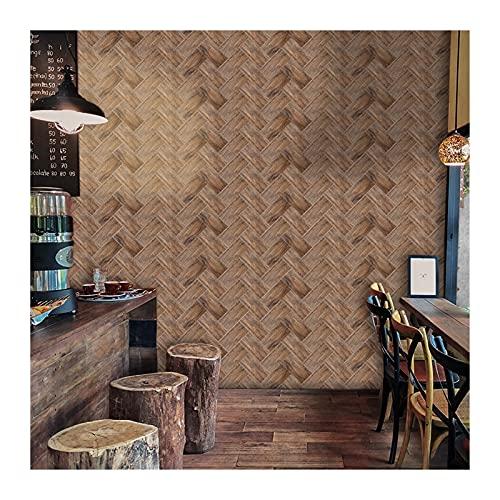 SHUILIANDU 20x10cm Vintage Impermeable Tile Pegatinas Turquesa Terrazzo Azulejo Adhesivo Adhesivo Pegatinas de Pared para Baño Pegatina Inicio (Color : Dark Brown Wood, Size : 20x10cmx9pcs)