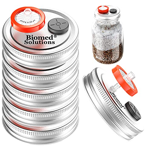 6Pcs Regular Mouth Mushroom Liquid Culture Lid Grain Spawn Cultivation Mason Jar Lid with 0.2 Micron PTFE Syringe Filter & 20mm Self Healing Injection Ports for Mushroom Growing Mycology(Silver)