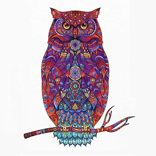 3D Three-Dimensional Creative Wooden Adult Children Puzzle Holiday Gift Pattern, Jigsaw Game Artwork Game for Adults Teens and Kids Creative Craft Gift OWL A4