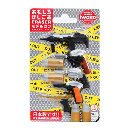 Iwako modello Guns pistola Revolver Mitragliatrice Bullets giapponese Gomme Blister Set NEW! Quantità: 1 Set Genuine Iwako giapponese Puzzle gomme da cancellare set di cui 1 Mitragliatrice, 4 pistola revolver e 2 gomme forma di proiettile