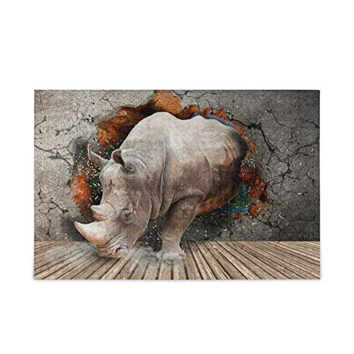 3D Rhino Puzzle 500 Pieces Puzzles for Kids Adults Puzzle