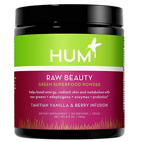 HUM Raw Beauty Superfood Greens Powder - Vegan Adaptogens, Enzymes & Probiotics Supplement Supports Radiant Skin, Improved Energy & Healthy Metabolism - Vanilla Berry Infusion (240g / 30 Servings)
