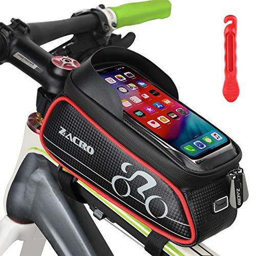 Zacro Bolsa Bicicleta Manillar,Soporte Bolsa Táctil Bicicleta Impermeable,Gran Capacidad para Bici y de Cremallera Doble Viseras para Moviles Debajo de 6 Inches