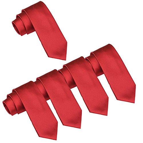 Mens Wedding Tie Wholesale Groomsman Solid Color Skinny Ties 5 Pack (2 inch) (Red_)