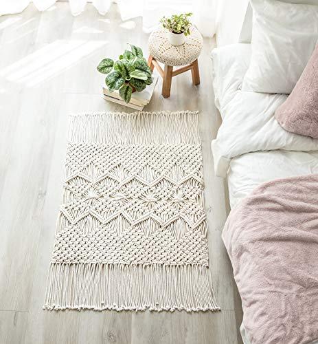 "Mkono Macrame Rug Boho Area Rugs Cotton Woven Small Carpets with Tassels for Bedroom Living Room Bathroom Entryway Nursery Home Decor, 35"" L x 24"" W"