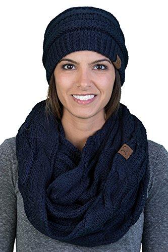 Regular Slouchy Beanie Hat Matching Scarf Set Bundle - Navy (Solid)