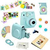 Fujifilm Instax Mini 9 Camera + 14 PC Instax Accessories kit Bundle, Includes; Instax Case + Album + Frames & Stickers + Lens Filters + More (Ice Blue)