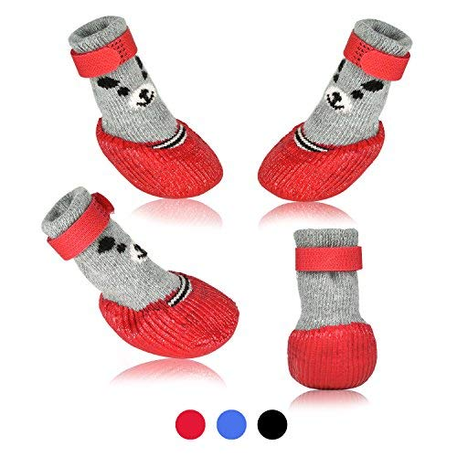 Dog Cat Boots Shoes Socks with Adjustable Waterproof Breathable and Anti-Slip Sole All Weather Protect Paws(Only for Tiny Dog) (S, Red)