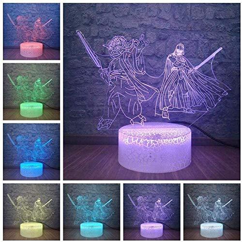 giyiohok Lámpara de ilusión 3D Luz de noche LED Regalos creativos Star Wars Maestro Yoda Negro K Lámpara de mesa USB óptica Lámpara de escritorio Ara Decoración del hogar Fans Regalo