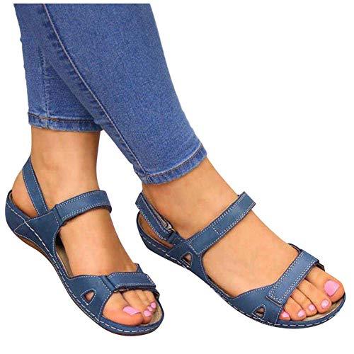 Quealent Platform Wedges for Women Shoes,Womens Casual Espadrilles Trim Flatform Studded Wedge Blue