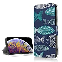 Blue Fish ブルーフィッシュ IPhoneXR フリップ ケース 手帳型 磁気閉鎖 薄型 超軽量 多機能 ICカード収納 耐衝撃 滑り防止 折りたたみ スタンド高級PUレザー 保護カバー