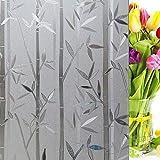 Etiqueta engomada de Cristal de bambú electrostática película de Cristal de Ventana privada Opaca Pegatina Impermeable película de decoración del hogar D 50x100cm