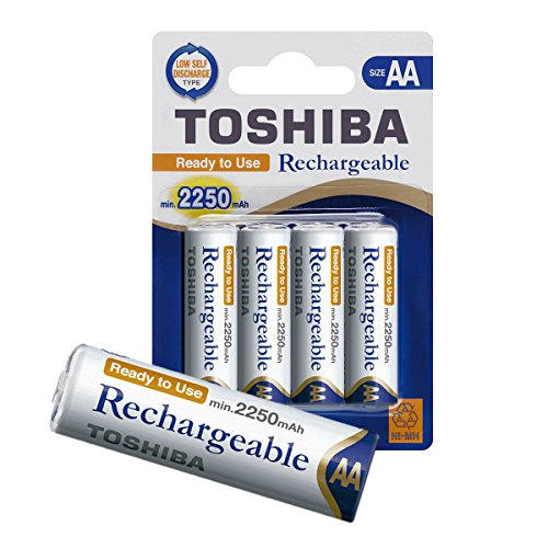 TOSHIBA AA Akku Batterien min. 2250 mAh, Ready-to-Use NI-MH, 1.2V 4er Pack