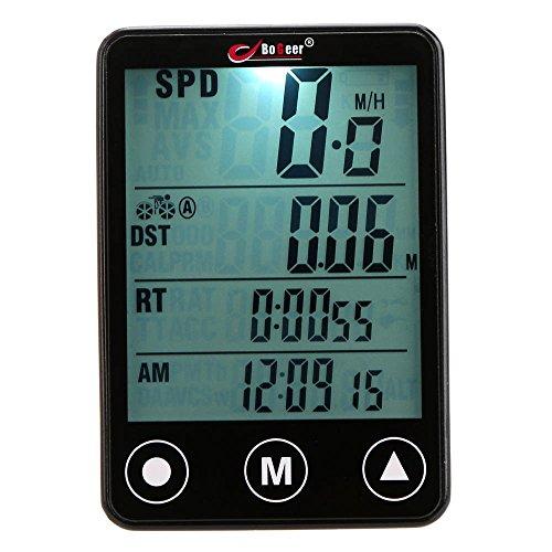 Lixada Cuentakilómetros Velocímetro Wireless Inalámbrico Botón Táctil LCD Computadora de Bicicleta Multifuncional para Ciclismo MTB Bike Bici Deportes al Aire Libre