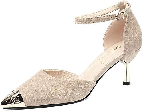 XXHDYR XXHDYR Chaussures à Talons, été, Nouvelle Mode, Pointu, Fin, Bouche Peu Profonde Chaussures de Femme (Couleur   Beige, Taille   EU 37 UK 4.5-5 CN37)  2018 dernier