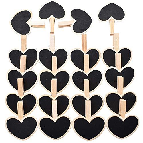 Mini Clip de pizarra en forma de corazón JEANGO 20pcs Tablero de mensajes Titular de la factura Forma de amor Adecuado para la tabla Tarjeta Nombre Nombre Precio DIY Decoración Decoración