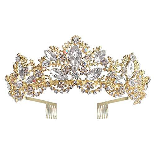 Tiara de diamantes de imitacin para boda con corona de cristal para novia, tocado barroco dorado con corona de reina real de cristal, tiaras