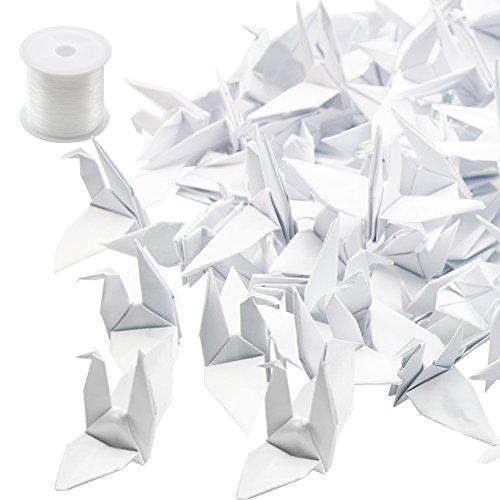 Guirnaldas de origami de Hangnuo, forma de grulla, hilo de seda invisible, para bodas, decoración del hogar