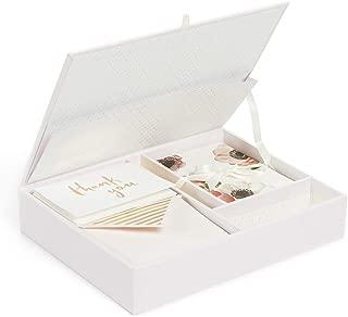 Kate Spade New York Women's Blushing Floral Keepsake Thank You Card Box, Pink/White Multi, One Size