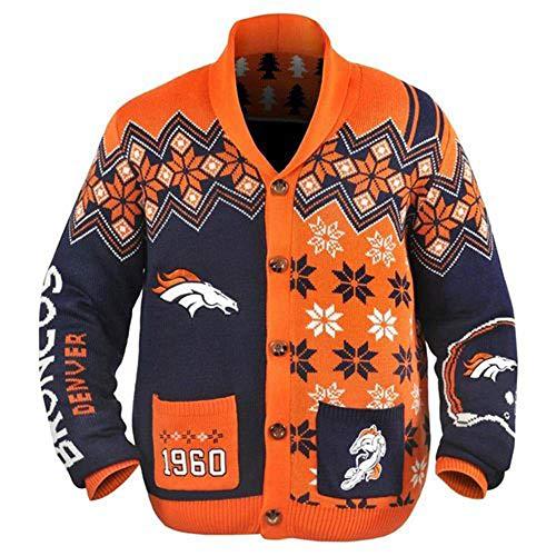 Klew NFL Mens Holiday Ugly Cardigan Sweater, Denver Broncos, Medium