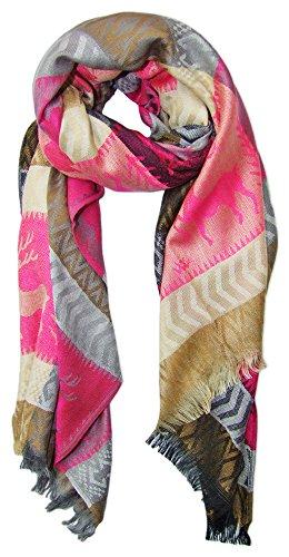 Trachtenland Halstuch Schal mit Hirsch Stickereien - Pink